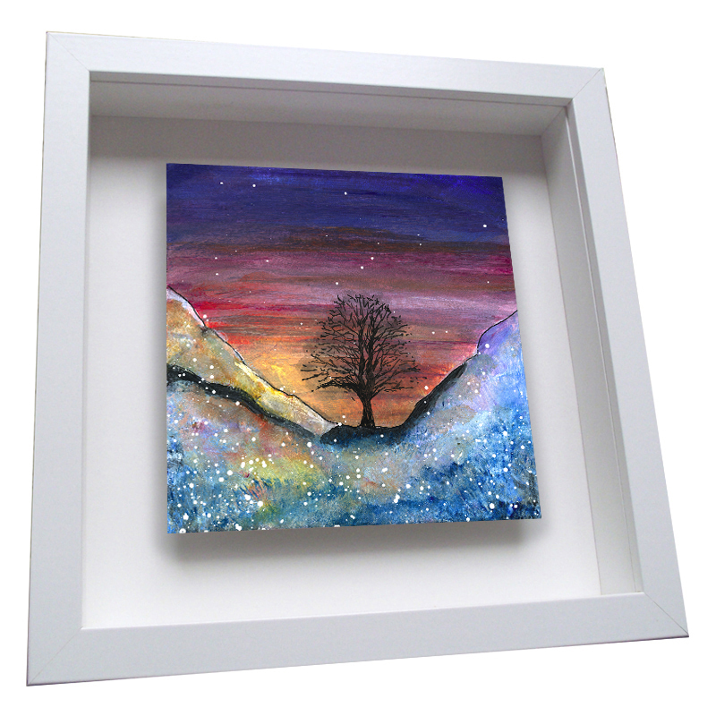 Sycamore Gap Winter - Framed Tile